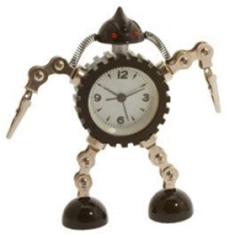 funky reclaimed metal robot alarm clock with photo clip black co uk toys