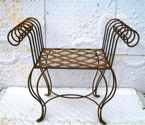 wrought iron vanity bench wrought iron curl arm bench vanity seating