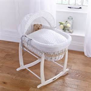 dimple white wicker moses basket