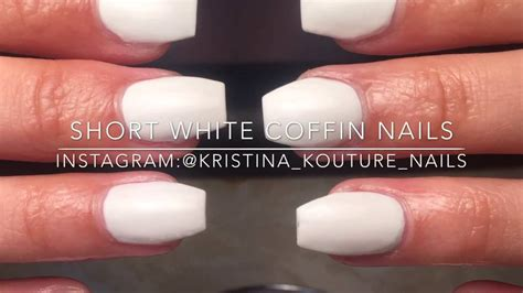 short coffin nails with american manicure short nail art short white coffin nails kristina kouture nails youtube