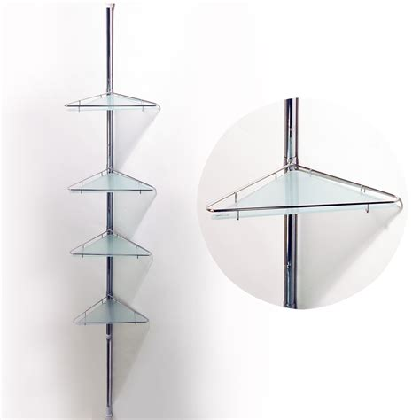 Glass Corner Shelves For Bathroom Pole Extending Telescopic Four Tier Metal And Glass Corner Wall Shelves Silver Watson S On