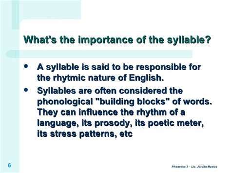 stress pattern english language ph3 introduction to the syllable