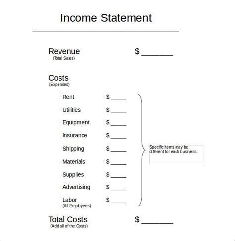 7 income statement formats free sle exle format