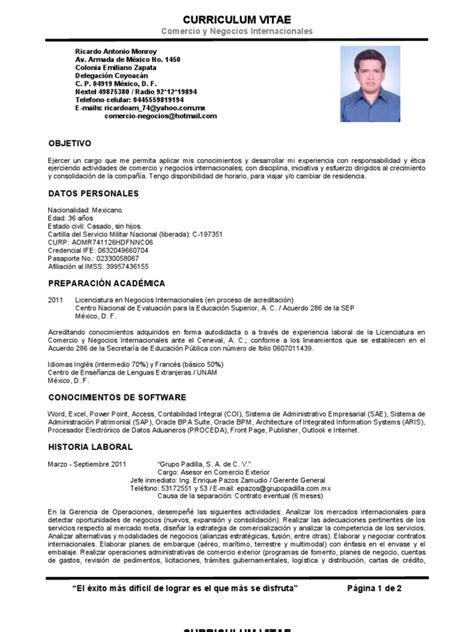 Modelo Curriculum Vitae Breve Cv Ricardo Antonio Monroy