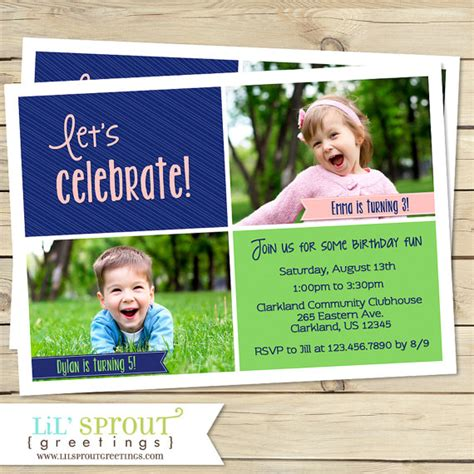 printable joint birthday party invitations joint birthday party invitation sibling birthday