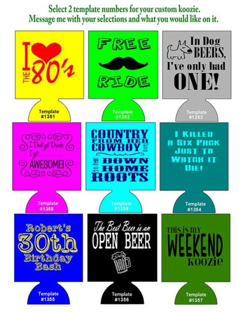 koozie design template 250 custom koozies foam can coolers 1 or 2