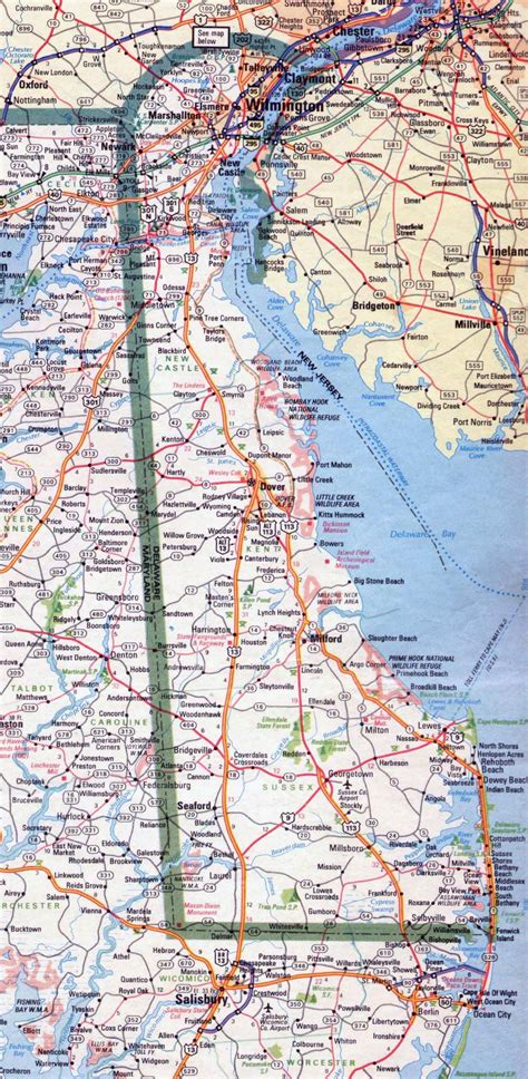 printable road map of delaware large roads and highways map of delaware state 1983