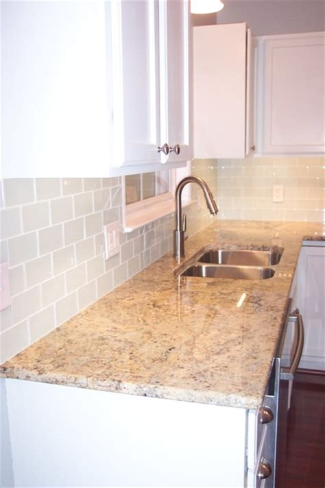 white glass subway tile kitchen backsplash traditional