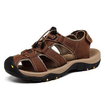 Sepatu Pantai Wanita pria asli sandal kulit durable sepatu datar musim panas