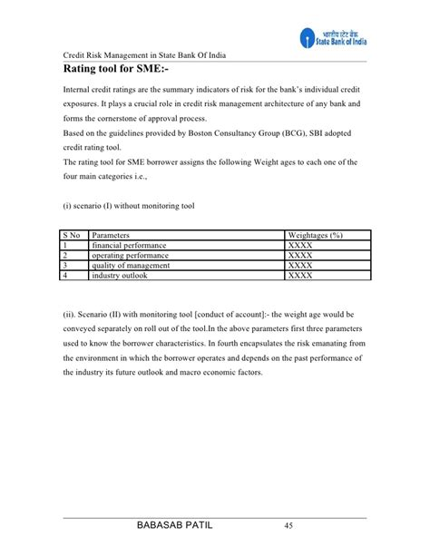 Comprehensive Project Report For Mba Finance by Credit Risk Sbi Project Report Mba Finance