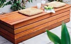 wood storage bench patio