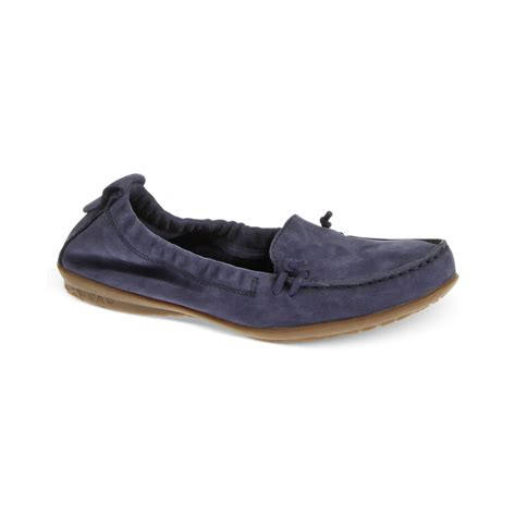 Hush Puppies Silver Blue Leather lyst hush puppies ceil moc flats in blue