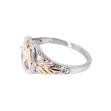 black gold sterling silver horseshoe ring