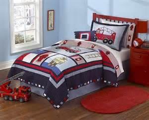 Fireman s fire truck boys bedding twin quilt set embroidered cotton