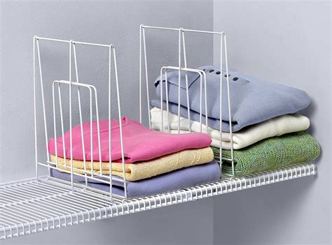 large white wire shelf divider in shelf dividers