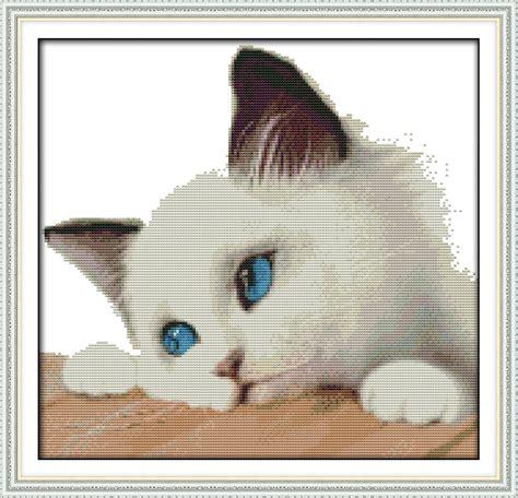 Handmade Work At Home - blue cat animal cross stitch kits dmc 14ct white11ct