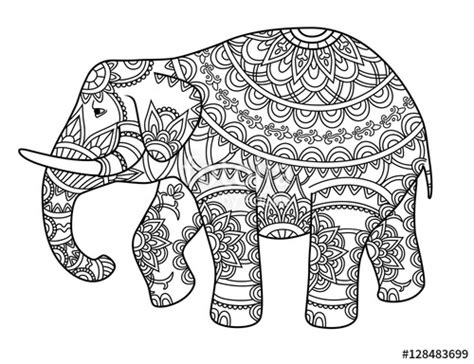 Ornate Elephant Folk Art Coloring Page Sketch Coloring Page