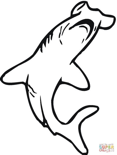 hammerhead shark 3 coloring page free printable coloring