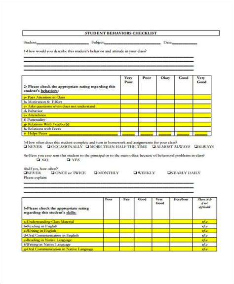student checklist template 10 behavior checklist templates free sles exles