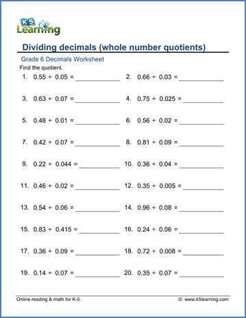 printable worksheets on division of decimals grade 6 division of decimals worksheets free printable