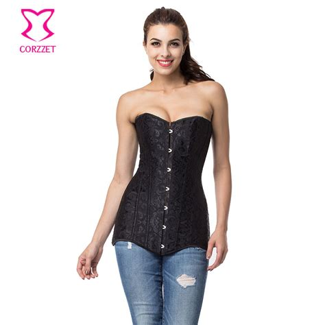 corzzet black jacquard steel boned overbust torso corset and bustiers waist trainer corsets