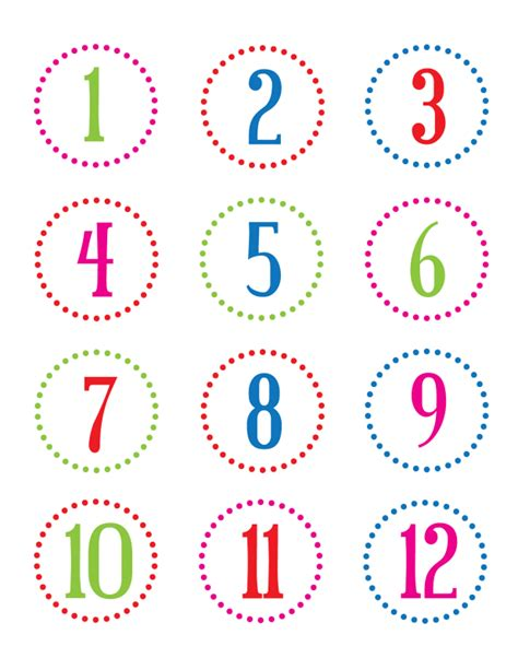 Printable Number Stickers | printable number countdown calendar template 2016