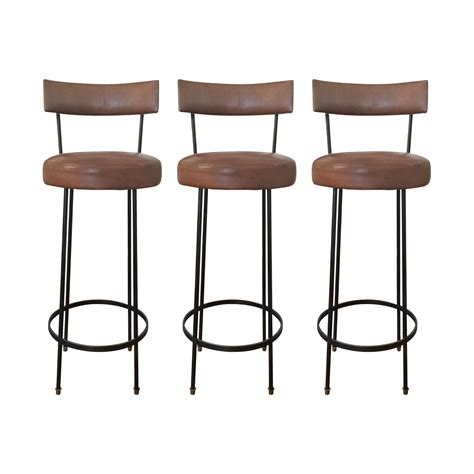 furniture leather bar stools with brown wooden floor and