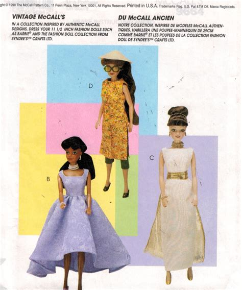 clothes pattern shops mccalls pattern 9664 barbie vintage collection doll
