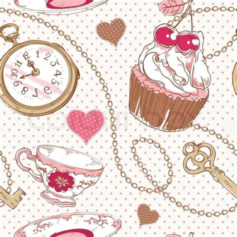 Kk525 Valen Ribbon Set 1 vintage pattern with hearts cupcake cup of