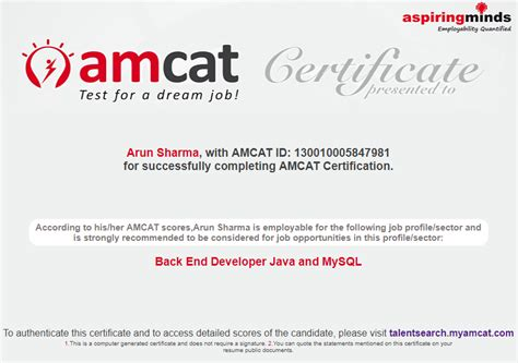 test pattern of amcat beat competition with amcat backend developer certification