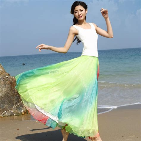 2015 style pastel colored skirt pleated skirt plus size for