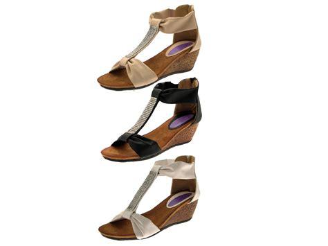 Wedges Heels 3 womens diamante t bar summer sandals low wedges heels