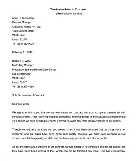 Cancellation Letter Of Agreement contract termination letter template 20 free sle exle format free premium templates