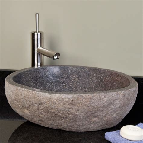 stone sinks for bathrooms dark gray river stone vessel sink vessel sinks