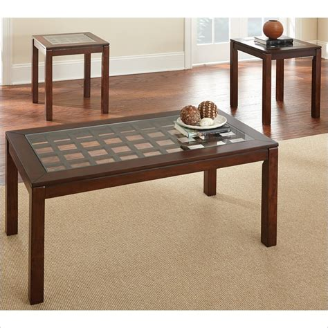 jofran 3 glass coffee table and end table set