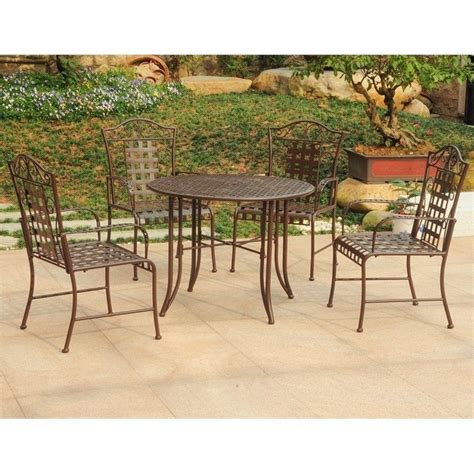 5 patio set 5 patio dining set in matte brown 3454 rt bn