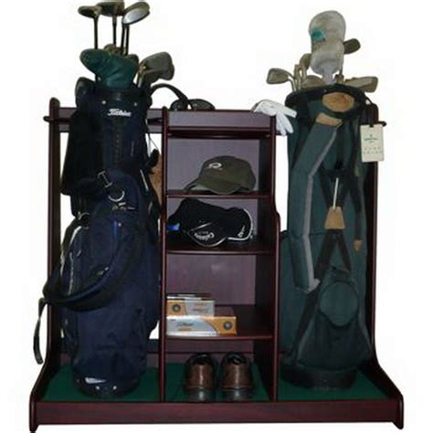 Golf Club Storage Rack by New Wood Golf Bag Storage Rack With Equipment Accessory Shelves