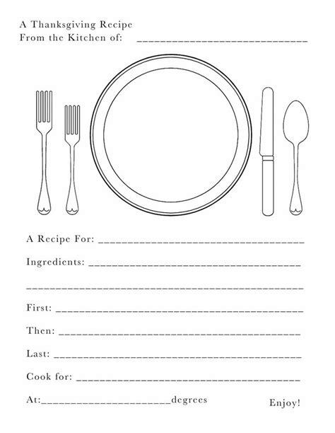free kids thanksgiving recipe card printable my little