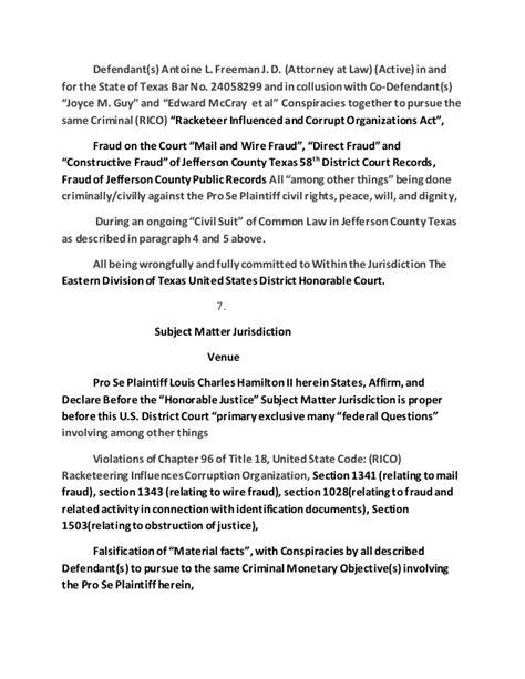 58th District Court Records Federal Complaint Defendant S Antoine L Freeman J D Attor