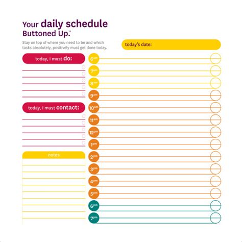 daily schedule template for students daily schedule template 14 free documents in