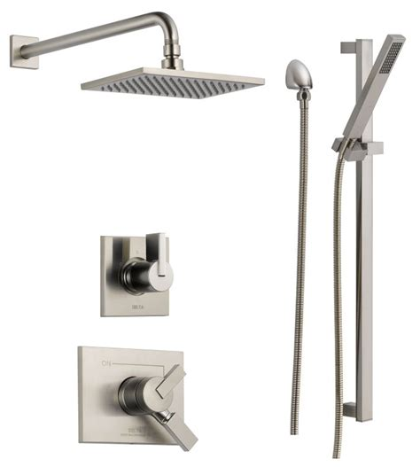 Delta Dual Shower System by Faucet Dss Vero 1701ss In Brilliance Stainless By Delta