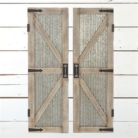 corrugated metal and wood barn door wall panel set of 2 antique farmhouse