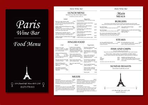 layout com menu paris wine bar menu