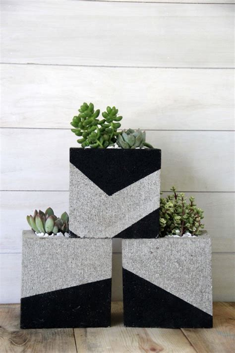 Cement Block Planters by Diy Painted Cinder Block Planters