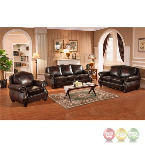 4 leather sofa set hyde 3pc sofa set with antiqued rubbed top grain
