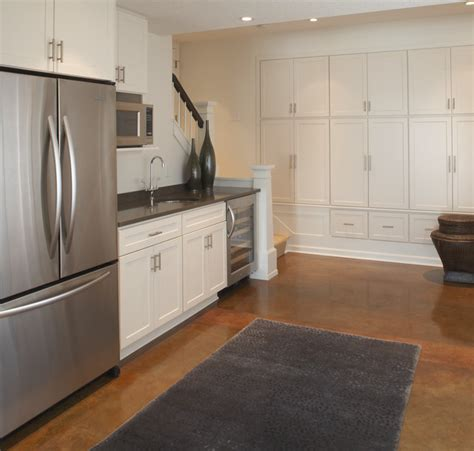 kid friendly basement kitchenette contemporary