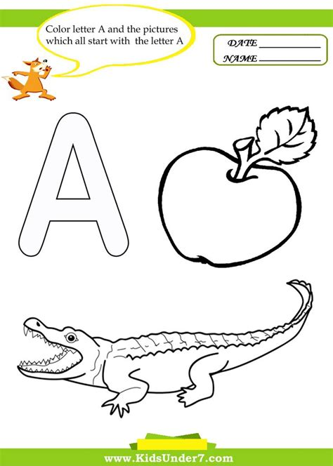 7 letter a worksheets and coloring pages