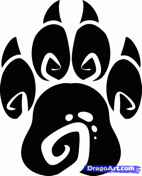 how to draw a paw how to draw a tribal paw tribal paw print step by step tribal pop culture