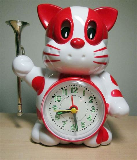 vintage japanese anime reveille bugle cat alarm clock working animals that tell time