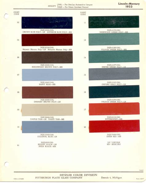 paint chips 1953 lincoln mercury